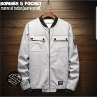 Jaket Bomber 5 Saku, Tahan Air, Original Abu Terang