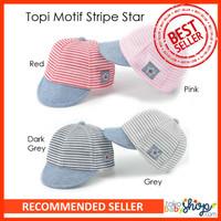 Topi Motif Stripe Star / Topi Pet / Sunhat / Cap Lucu Bayi Anak