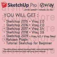 Sketchup 2017 2018 plus Vray, TUTORIAL serta Ratusan PLUGIN