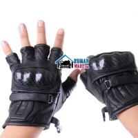 Sarung Tangan Motor Kulit Asli (Half Finger) Batok Protektor