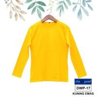 Baju Kaos Polos Dewasa Wanita lengan Panjang Warna KUNING EMAS - DWP17