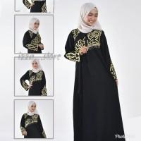 abaya arab hitam gamis saudi non pasmina elegan ziper muslimah zhiras - Hitam, M
