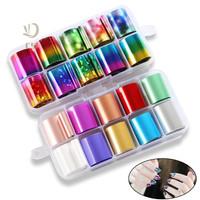 Harga set nail foil transfer termasuk box stiker holographic nail | antitipu.com