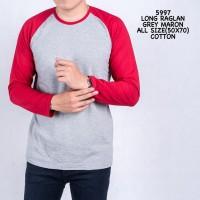 Credomenstore Kaos Raglan Abu Merah Maroon Lengan Panjang / Kaos