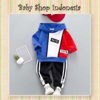 Setelan Baju Anak Cowok Murah Import Celana Training Anak Red and Blue