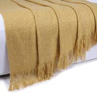 Gold Coloured Sofa Throw Blanket