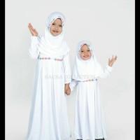 Baju Muslim/Gamis Anak Perempuan Warna Putih Untuk Manasik - Putih S