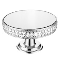 New 12 Mirror Cake Stand Round Crystal Glass Fruit Dessert