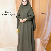 Helena Dress n Hijab Hijau Army M, L