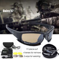 Kacamata Sunglasses Police Military Tactical Daisy x7 Anti UV 4 lensa