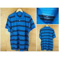 Kaos Kerah Aeropostale Original Salur Blue