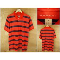 Kaos Kerah Aeropostale Original Salur Orange