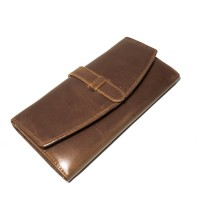 Dompet Kulit Wanita Envelope New Darkbrown - Kenes Leather