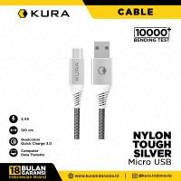 KURA Nylon Tough Silver Cable - Kabel Data Micro USB
