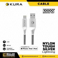 KURA Nylon Tough Silver Cable - Kabel Data Lightning