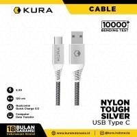 KURA Nylon Tough Silver Cable - Kabel Data USB Type C