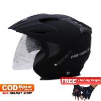 Helm Dewasa WTO Helmet Pro Sight Hitam Doff Promo Gratis Sarung Tangan