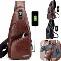 Tas Selempang Pria Sling Bag Kulit USB Port Fashion Travel leather NEW