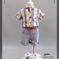 pakaian anak laki import setelan kemeja yellow purple fashion boy