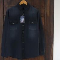 EASTLORE Denim Shirt GREY Two Pocket BIGSIZE - Kemeja JEANS JUMBO SIZE