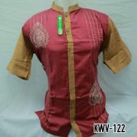 Grosir Baju Koko Muslim Pria Dewasa Merah Lengan Pendek Murah KWV 122