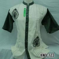 Baju Koko Muslim Pria Lengan Pendek Bordir Kombinasi Putih Baru KWV123