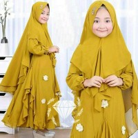 New Dnc20 Set Hijab Nina Syari Kids Baju Muslim Gamis Anak Cewek 6 7 8