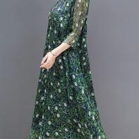 Popular Trend Women Floral Print Stand Collar A-Line Maxi Beach