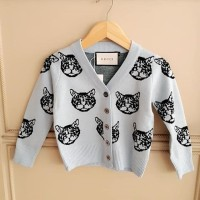 BAJUKIDDIE CAT GC OUTER SOFT BLUE . jaket cardigan sweater luaran anak