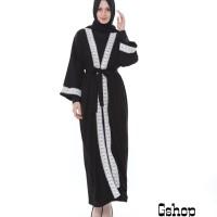 Abaya Muslim Bordir Lurus Zara Hitam
