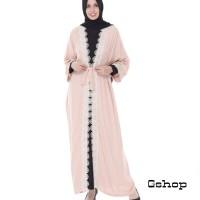 Abaya Muslim Bordir Bulat Zara Peach