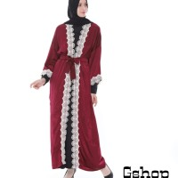 Abaya Muslim Bordir Bulat Zara Merah