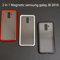 Samsung J8 2018 Premium 2 in 1 magnetic phone case -Transparant