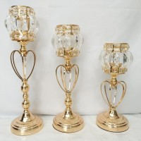 Vas Crystal Wedding Decoration/Candle Holder Gold/Stand Lilin