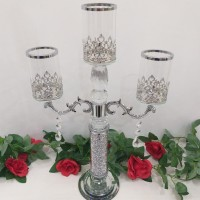 Candle Holder Kaca + Crystal 3 Cup/Candle Holder Glasses/Stand Lilin