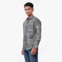 Batik Pria Tampan - KMPJ SLIM ABS SILVER GRAPE LEAF - Abu-abu Muda, S