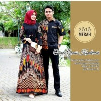 Baju Couple Gamis Batik Kombinasi Sogan Batik Sarimbit Batik Couple 1