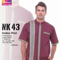 Koko Dewasa Lengan Pendek Katun Print Ori Nibras NK 43 Koko Premium