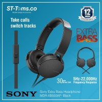 Sony Extra Bass Headphone MDR-XB550AP - Hitam
