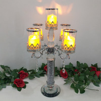 Candle Holder Kaca + Crystal 5 Cup / Candle LED / Crystal Glasses