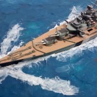 Diorama laut Bismarck 1/800 Academy waterline