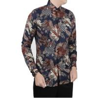 VM Kemeja Batik Panjang Pria Slimfit Batik Pria Modern Biru