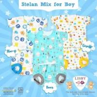 Libby Stelan Baju Pendek Celana Pop Motif Mix Boy 3-6 bulan