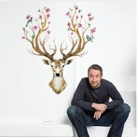 Wall Sticker 60x90 Painted Deer - Wallsticker Gambar Stiker Dinding