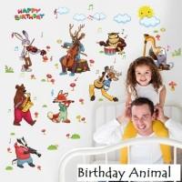 Wall Sticker 60x90 Birthday Animal - Wallsticker Gambar Stiker Dinding