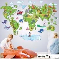 Wall Sticker 60x90 Green Map - Wallsticker Gambar Stiker Dinding