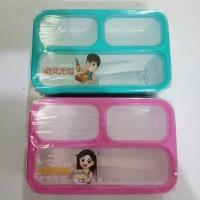 Tempat Makan / Kotak Makan / Lunch Box 3 Sekat Anti Tumpah Yooyee 606