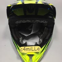 JUAL HELM KYT CROSS OVER SE STEP UP BLACK YELLOW FLUO CYAN BLUE TRAIL