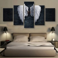 5 Panels BANKSY ANGEL WINGS Print Picture Art Pictures Canvas