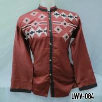 Baju Koko Busana Muslim Pria Dewasa Lengan Panjang Merah Baru LWV 084